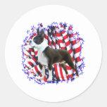 Boston Terrier Patriot Classic Round Sticker