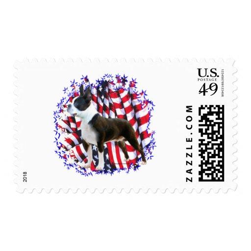Boston Terrier Patriot Postage Stamps