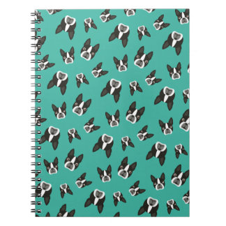 Boston Terrier Pattern Notepad - Teal Notebook