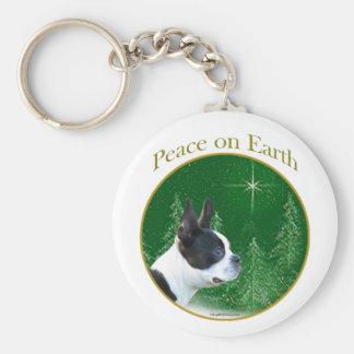 Boston Terrier Peace Basic Round Button Keychain