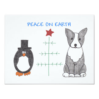 Boston Terrier Peace On Earth Card