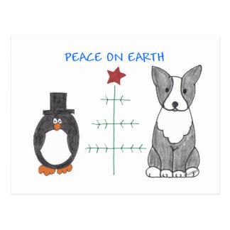 Boston Terrier Peace On Earth Postcard
