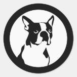 Boston Terrier Pegatina Redonda