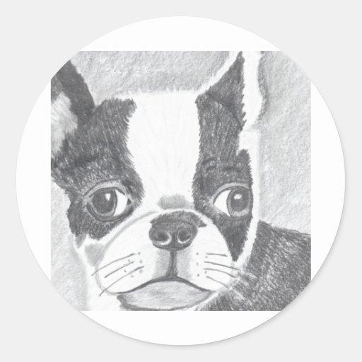 Boston Terrier Pegatinas Redondas
