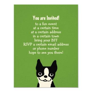"""Boston Terrier - perro lindo con el texto de Invitación 4.25"""" X 5.5"""""""