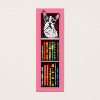 Boston Terrier Pink Bookmark Mini Business Card