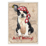 Boston Terrier Pirate Greeting Card