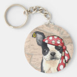 Boston Terrier Pirate Keychain