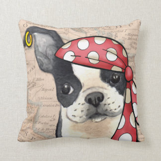 Boston Terrier Pirate Throw Pillow