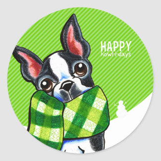 Boston Terrier Plaid Scarf Christmas Classic Round Sticker