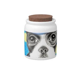 Boston Terrier Polka Dot Candy Jars