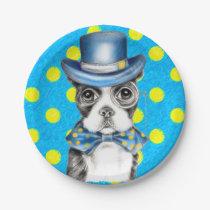 Boston Terrier Polka Dot Paper Plate