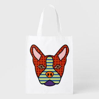 Boston Terrier Pop Art Grocery Bags