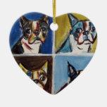 Boston Terrier pop art painting Christmas Tree Ornament