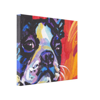 boston terrier Pop Dog Art on Wrapped Canvas