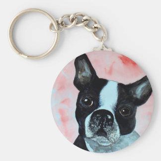 Boston Terrier Portrait Keychain