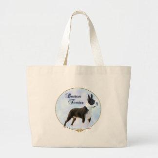 Boston Terrier Portrait Large Tote Bag