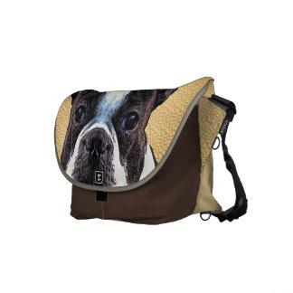Boston Terrier Portrait Messenger Bags