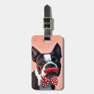 Boston Terrier Portrait with Red Bow Tie and 2 Bag Tag