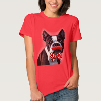 Boston Terrier Portrait with Red Bow Tie and 2 T-shirt