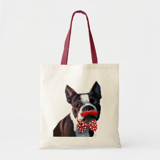 Boston Terrier Portrait with Red Bow Tie and 2 Tote Bag