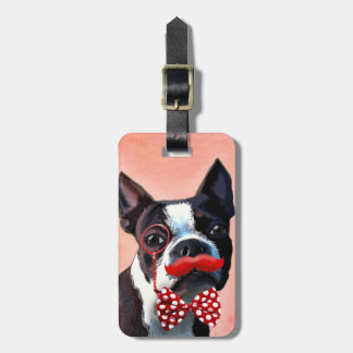 Boston Terrier Portrait with Red Bow Tie and 3 Bag Tag