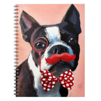 Boston Terrier Portrait with Red Bow Tie and 3 Notebook