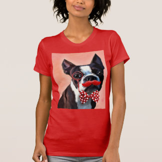 Boston Terrier Portrait with Red Bow Tie and 3 Shirt