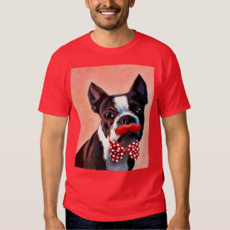 Boston Terrier Portrait with Red Bow Tie and 3 T-shirt