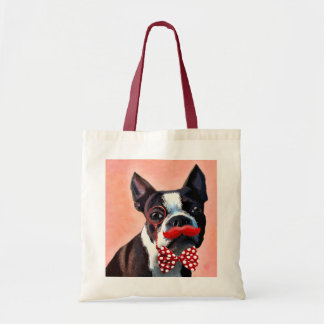 Boston Terrier Portrait with Red Bow Tie and 3 Tote Bag