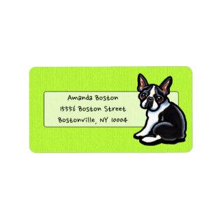 Boston Terrier Profile Studio Casual Lime Address Label