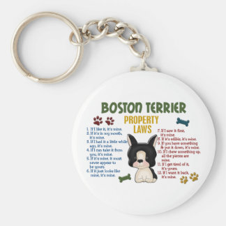 Boston Terrier Property Laws 4 Basic Round Button Keychain