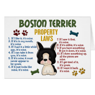 Boston Terrier Property Laws 4 Card