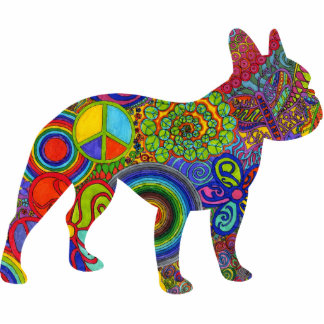 Boston Terrier Psychedelic Pattern Photo Sculpture