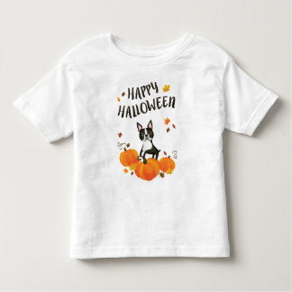 Boston Terrier Pumpkin Fall Leaves Halloween Shirt