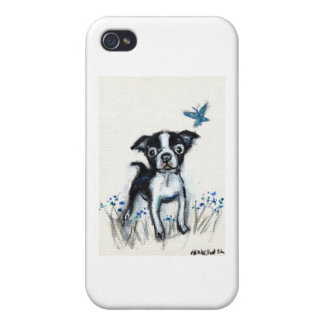Boston Terrier pup butterfly iPhone 4 Cases