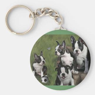 Boston Terrier Puppies Basic Round Button Keychain
