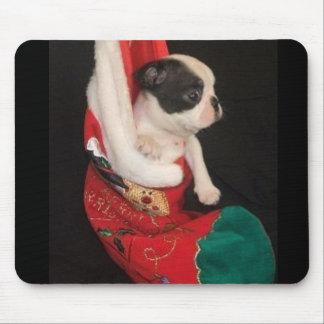 Boston Terrier Puppy Christmas Mousepad