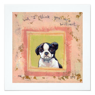 Boston Terrier puppy dog adorable cute art Card