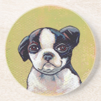 Boston Terrier puppy dog adorable cute art Drink Coaster