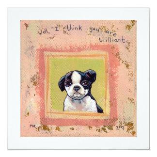 Boston Terrier puppy dog adorable cute art 5.25x5.25 Square Paper Invitation Card