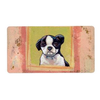 Boston Terrier puppy dog adorable cute art Label