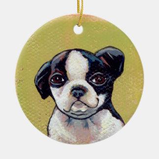 Boston Terrier puppy dog adorable cute art Christmas Ornament
