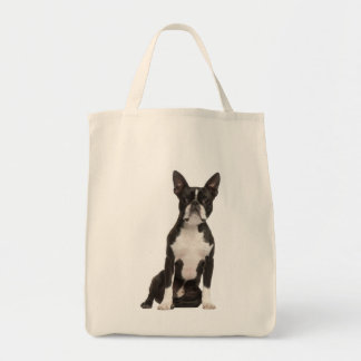 Boston Terrier Puppy Dog Canvas Grocery Totebag Tote Bag
