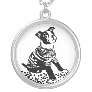 Boston Terrier Puppy Dog Round Pendant Necklace
