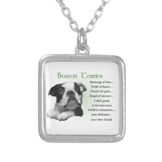 Boston Terrier Puppy Heritage of Love Square Pendant Necklace