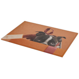 Boston terrier puppy in gift box cutting board