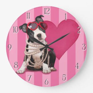 Boston Terrier Puppy Large Clock