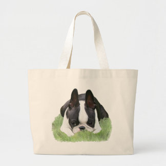 Boston terrier puppy resting large tote bag