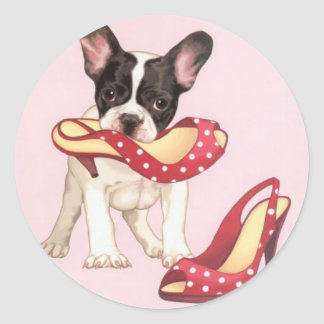 Boston Terrier Puppy With Shoes Classic Round Sticker